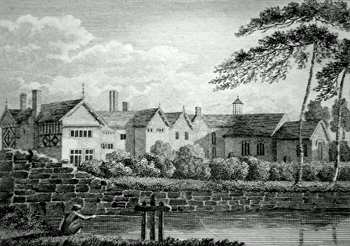 ANTIQUE PRINT: VIEW OF DUKINFIELD HALL.
