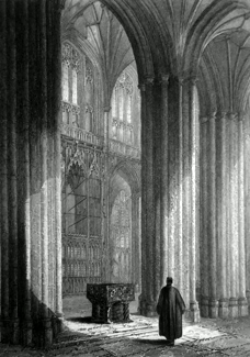 ANTIQUE PRINT: WINCHESTER CATHEDRAL. VIEW ACROSS THE NAVE, SHOWING THE FONT & WYKEHAM'S MONUMENT.