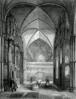 ANTIQUE PRINT: WINCHESTER CATHEDRAL. VIEW IN THE PRESBYTERY, SHEWING THE CHANTRIES OF BISHOP WAYNFLEET AND CARDINAL BEAUPORT.
