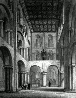 ANTIQUE PRINT: WINCHESTER CATHEDRAL, THE NORTH TRANSEPT.