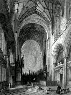 ANTIQUE PRINT: WINCHESTER CATHEDRAL, VIEW OF THE CHOIR.
