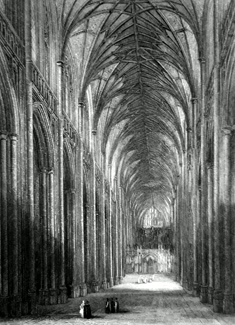 ANTIQUE PRINT: WINCHESTER CATHEDRAL. THE NAVE LOOKING EAST.