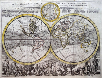 ANTIQUE MAP: A NEW MAP OF THE WHOLE WORLD WITH THE TRADE WINDS ACCORDING TO YE LATEST AND MOST EXACT OBS-ERVATIONS.