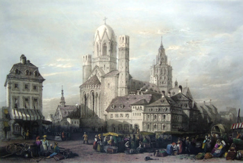 ANTIQUE PRINT: MAYENCE CATHEDRAL, - RHINE.