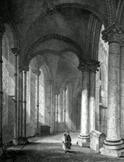 ANTIQUE PRINT: CANTERBURY CATHEDRAL. VIEW FROM TRINITY CHAPEL, LOOKING WEST.