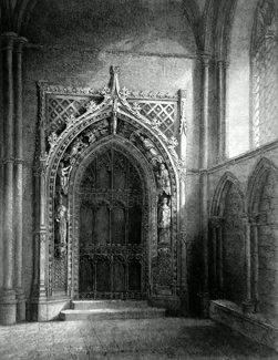 ANTIQUE PRINT: ROCHESTER CATHEDRAL, VIEW OF THE DOOR LEADING INTO THE CHAPTERHOUSE.