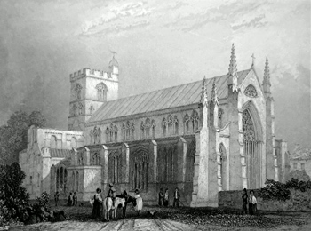 ANTIQUE PRINT: CARLISLE CATHEDRAL. SOUTH EAST VIEW.