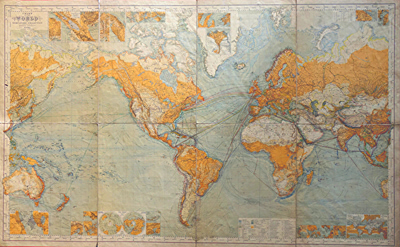 ANTIQUE MAP: CHART OF THE WORLD ON MERCATORS PROJECTION.
