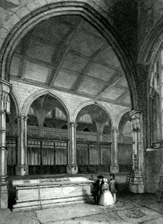 ANTIQUE PRINT: MANCHESTER CATHEDRAL. VIEW ACROSS THE CHOIR & BAPTISTERY, FROM ELY CHAPEL.