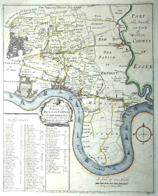 ANTIQUE MAP: AN ACTUALL SURVEY OF THE PARISH OF ST. DUNSTAN STEPNEY, ALIAS STEBUNHEATH BEING ONE OF THE TEN PARISHES OF MIDDLESEX ADJACENT TO THE CITY OF LONDON.