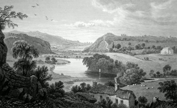 ANTIQUE PRINT: VIEW OF THE TEIFY, NEAR NEWCASTLE. CARDIGANSHIRE.