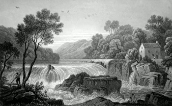 ANTIQUE PRINT: FALL OF THE TEIFY. CARDIGANSHIRE.
