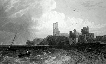 ANTIQUE PRINT: REMAINS OF ABERYSTWITH CASTLE, CARDIGANSHIRE.