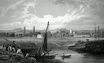 ANTIQUE PRINT: MATHERN, FROM ST. PIERRE PILL, MONMOUTHSHIRE.
