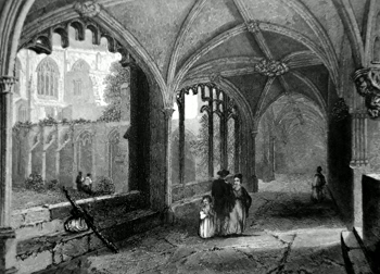 ANTIQUE PRINT: CHESTER CATHEDRAL. THE CLOISTERS.