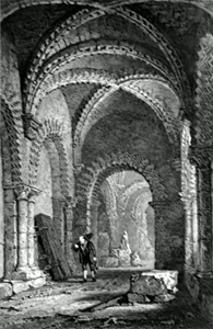 ANTIQUE PRINT: INTERIOR OF THE CASTLE CHAPEL, NEWCASTLE.