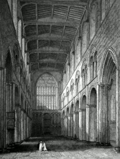 ANTIQUE PRINT: ROCHESTER CATHEDRAL, VIEW OF THE NAVE.