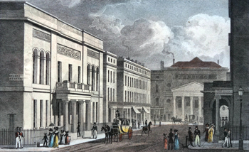 ANTIQUE PRINT: UNITED SERVICE MILITARY CLUB HOUSE, HAYMARKET THEATRE, & PART OF THE OPERA COLONADE, FROM REGENT STREET.