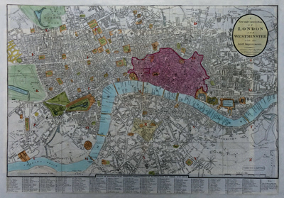ANTIQUE MAP: A NEW AND CORRECT PLAN OF LONDON AND WESTMINSTER, WITH THE LATEST IMPROVEMENTS.