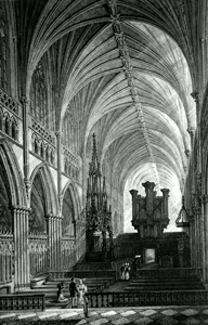 ANTIQUE PRINT: INTERIOR OF EXETER CATHEDRAL.