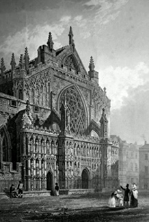 ANTIQUE PRINT: EXTERIOR OF EXETER CATHEDRAL.