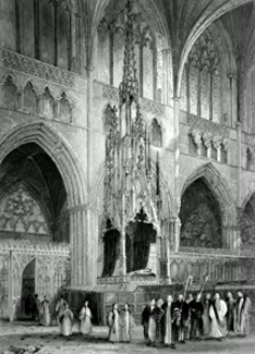 ANTIQUE PRINT: EXETER CATHEDRAL. THE BISHOP'S THRONE.