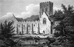 ANTIQUE PRINT: REMAINS OF THE ABBEY, AT SHREWSBURY. SHROPSHIRE.