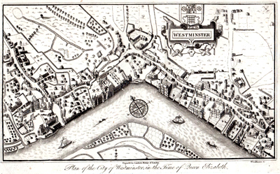 ANTIQUE MAP: PLAN OF THE CITY OF WESTMINSTER, IN THE TIME OF QUEEN ELIZABETH.
