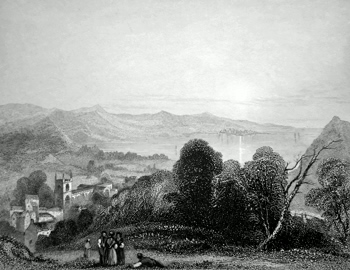 ANTIQUE PRINT: BANGOR CATHEDRAL. BEAUMARIS IN THE DISTANCE.