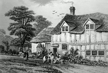 ANTIQUE PRINT: THE BIRTH-PLACE OF BUNYAN, ELSTOW, NEAR BEDFORD, BEDFORDSHIRE.