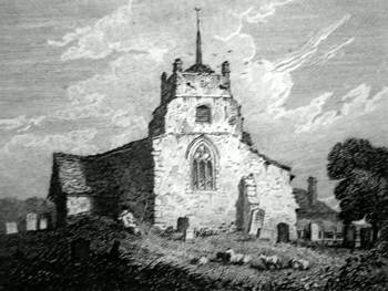 ANTIQUE PRINT: SALFORD CHURCH, BEDFORDSHIRE.
