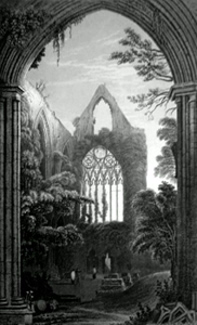 ANTIQUE PRINT: WEST WINDOW OF TINTERN ABBEY. FROM THE NORTH TRANSEPT.