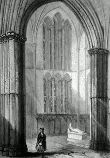 ANTIQUE PRINT: WORCESTER CATHEDRAL. NORTH TRANSEPT OF CHOIR.