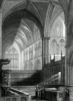ANTIQUE PRINT: WORCESTER CATHEDRAL. THE CHOIR.
