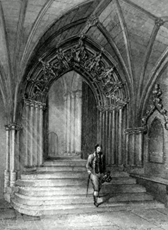 ANTIQUE PRINT: NORWICH CATHEDRAL. ENTRANCE TO THE CLOISTERS.