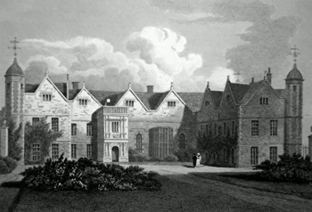 ANTIQUE PRINT: CHARLECOTE HOUSE, WARWICKSHIRE.