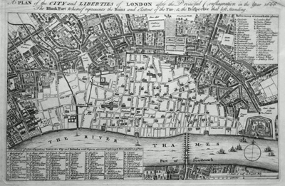 ANTIQUE MAP: A PLAN OF THE CITY AND LIBERTIES OF LONDON; SHEWING THE EXTENT OF THE DREADFUL CONFLAGRATION IN THE YEAR 1666.