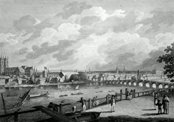 ANTIQUE PRINT: WESTMINSTER FROM LAMBETH.