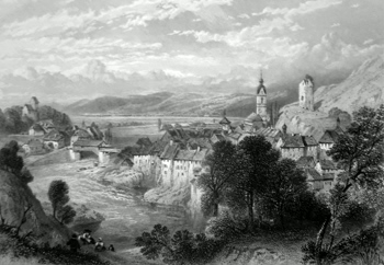 ANTIQUE PRINT: LAUFENBURG.
