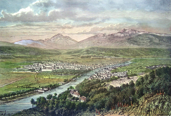 ANTIQUE PRINT: INNSBRUCK AND THE VALLEY OF THE INN.