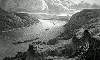 ANTIQUE PRINT: DANUBE : NEAR LINZ.