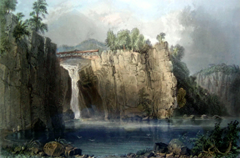 ANTIQUE PRINT: VIEW OF THE PASSAIE [i.e. PASSAIC] FALLS.