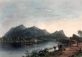 ANTIQUE PRINT: MOUNT TOM AND THE CONNECTICUT RIVER.