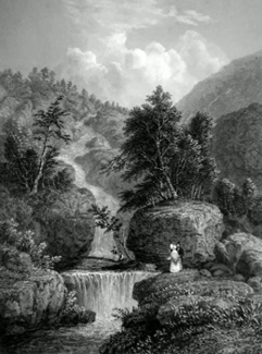 ANTIQUE PRINT: THE SILVER CASCADE, IN THE NOTCH OF THE WHITE MOUNTAINS.