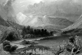 ANTIQUE PRINT: MOUNT WASHINGTON, AND THE WHITE HILLS. (FROM NEAR CRAWFORD'S.)