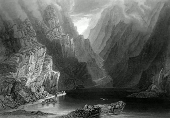 ANTIQUE PRINT: THE MOUNTAINS IN THE GAP OF DUNLOE.