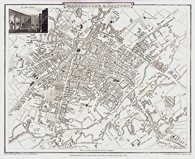 ANTIQUE MAP: MANCHESTER & SALFORD.
