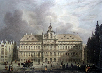 ANTIQUE PRINT: TOWN HALL, ANTWERP.