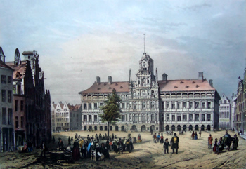 ANTIQUE PRINT: THE TOWN HALL, ANTWERP.