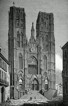 ANTIQUE PRINT: 97. CHURCH OF ST. GUDULE, BRUSSELS.